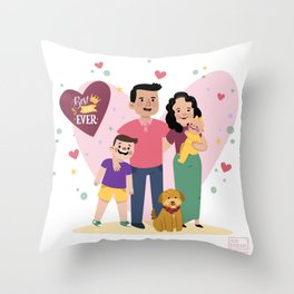 Personalized Illustratiom for Fathers Day Throw Pillow