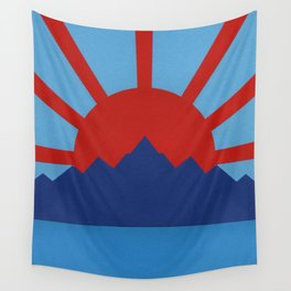 Ocean, Mountains, Rising Sun Wall Tapestry