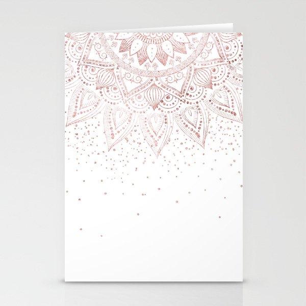 elegant rose gold mandala confetti design stationery cards by