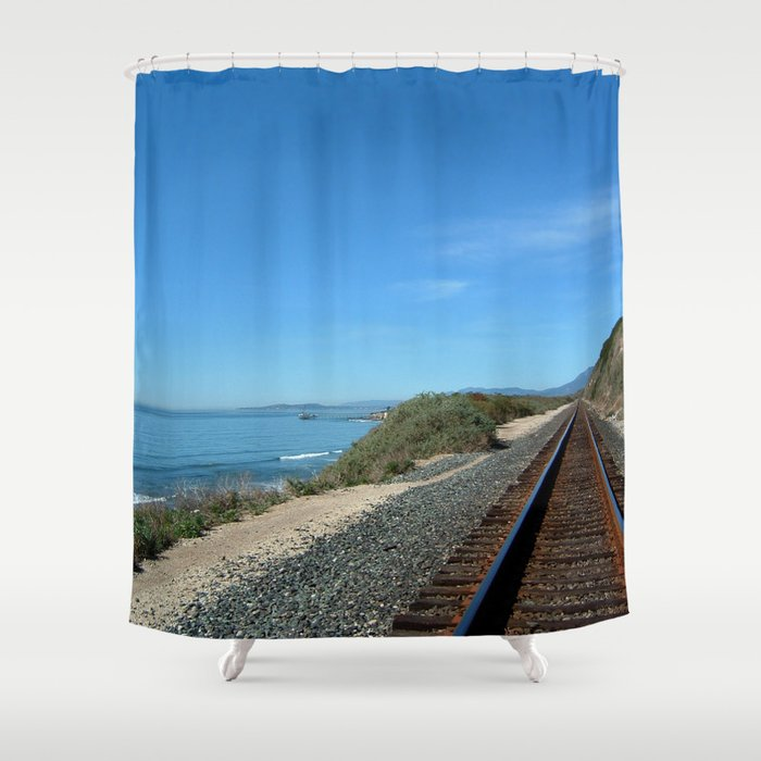 Costal Train Tracks Shower Curtain