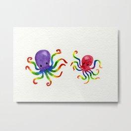 Little Rainbow Octopuses Metal Print