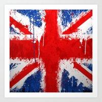 british flag Art Prints featuring BRITISH FLAG by Sophie