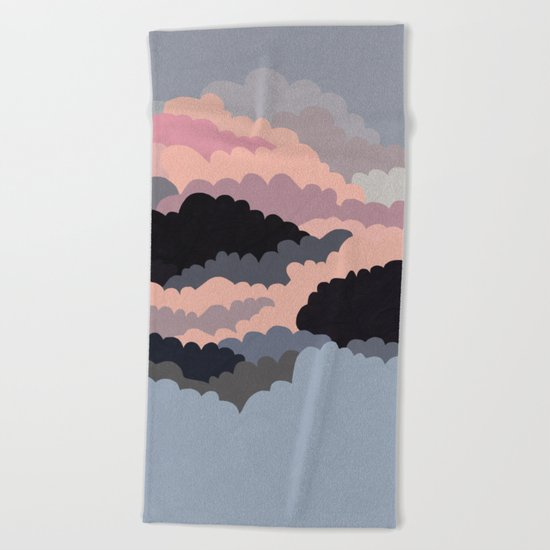 Magic Sunset Clouds On The Sky Beach Towel