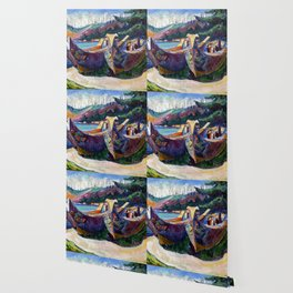 Emily Carr First Nations War Canoes in Alert Bay Wallpaper
