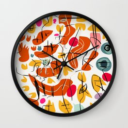 Flowers and Birds Illustration Pattern Wall Clock