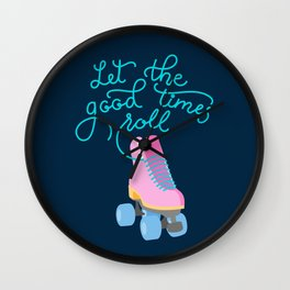 Let the Good Times Roll (Navy Background) Wall Clock