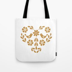 Golden heart shaped floral and bird Tote Bag