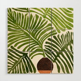 Summer Fern / Simple Modern Watercolor Wood Wall Art