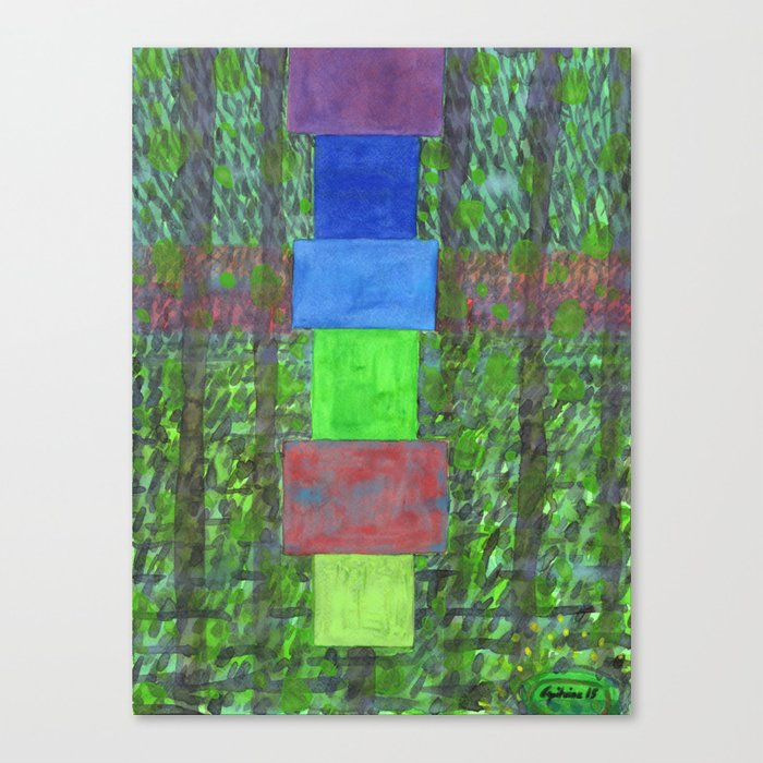 Piled Blocks within Striped Picturesque Painting Canvas Print