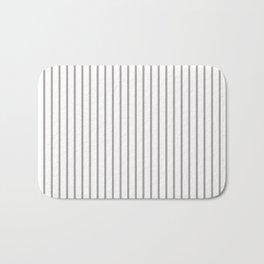 Silver Thistle Pinstripe on White Bath Mat