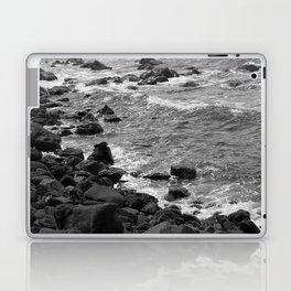 Rocky coastline, Black and White Laptop & iPad Skin