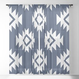 Third Eye Kilim in Navy Blue Sheer Curtain