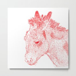 donkey drawing, red Metal Print