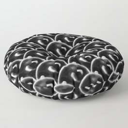 Pattern moon round cell digital nanquim seigaiha black and white Floor Pillow