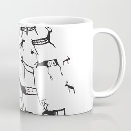 Petroglyph REAL Europe Reindeer rock art Norway black Coffee Mug