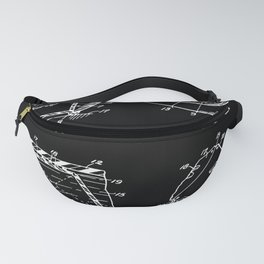 Magic Eight Ball Patent - White on Black Fanny Pack