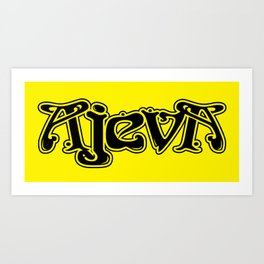 Ajeva Logo 2 Yellow Art Print
