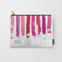 Lipstick Stripes - Floral Fuschia Red Carry-All Pouch