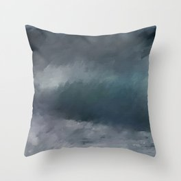 Blue Stormy Sea Throw Pillow