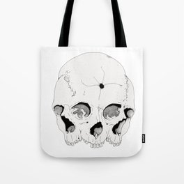 3 Faced Skull Tote Bag