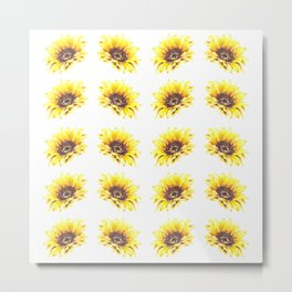 Watercolor Sunflower Petal Pattern Metal Print