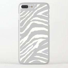 ZEBRA GRAY AND WHITE ANIMAL PRINT Clear iPhone Case