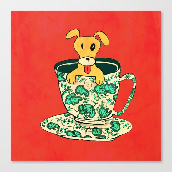 Dinnerware Sets - puppy in a teacup Canvas Print