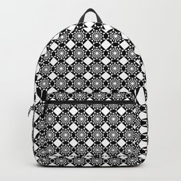 Black And White Geometric Diamond Design Backpack