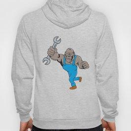 Angry Gorilla Mechanic Spanner Cartoon Isolated Hoody