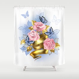 Pink Roses with Gold Ribbon Shower Curtain