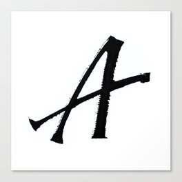 Letter A Ink Monogram Canvas Print