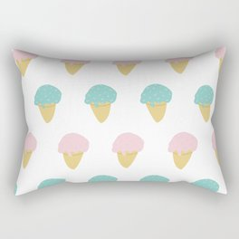 Sprinkle Ice Cream Cone Repeat in Pink + Atomic Mint on White Rectangular Pillow