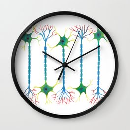 Neuron 5 in White Wall Clock