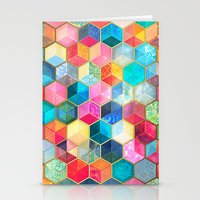 hexagon Stationery Cards featuring Crystal Bohemian Honeycomb Cubes - colorful hexagon pattern  by micklyn
