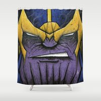 titan Shower Curtains featuring The Mad Titan by chris panila
