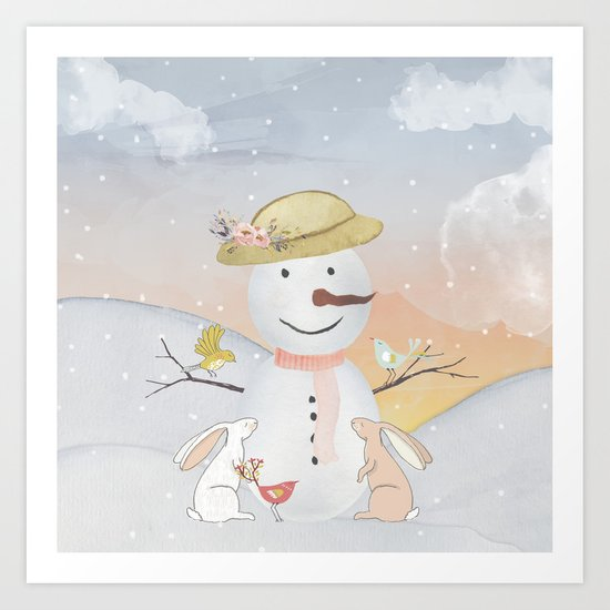 Winter Wonderland- Snowman birds and bunnies - Watercolor illustration Art Print
