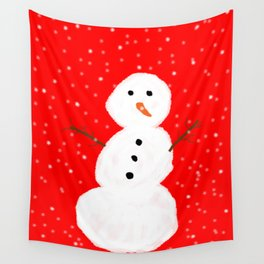 Simple Snowman Wall Tapestry