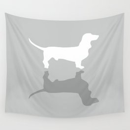 Silver Dachshund Pattern Wall Tapestry