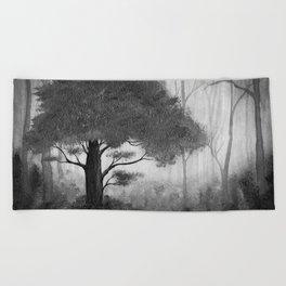 The Dark Forest (B&W) Beach Towel