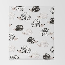 Hedgehog friends black and white spots Throw Blanket