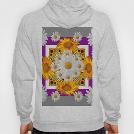 GREY & WHITE DAISIES FLORAL ABSTRACT & YELLOW SUNFLOWERS Hoody