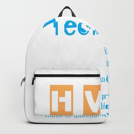 HVAC Air Conditioner Heater Technician Definition print Backpack