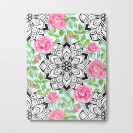 Pink Roses and Mandalas on Sky Blue Lace Metal Print