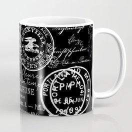 White Vintage Handwriting on Black Coffee Mug