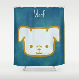 Woof - Dog Graphic - Chalkboard Inspired Shower Curtain