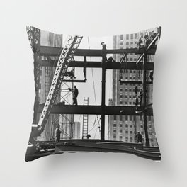 Steel workers New York City Throw Pillow