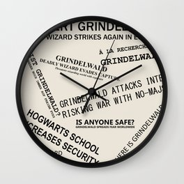 1926 Wizard Newspaper Headlines - Grindelwald Wall Clock