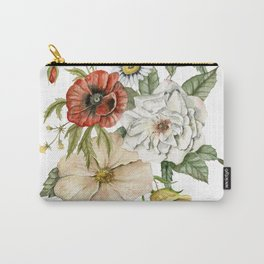 Wildflower Bouquet on White Carry-All Pouch