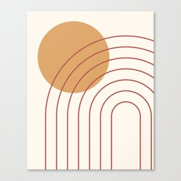 Geometric Lines in Terracotta Gold Beige 3 (Rainbow and Sun Abstract) Canvas Print