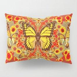 RED YELLOW MONARCH BUTTERFLY WORLD FLORALS MODERN ART Pillow Sham